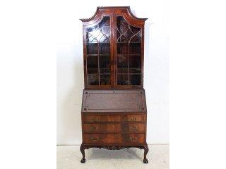 wd-4 1880年代 イギリス製 アンティーク ビクトリアン マホガニー ビューローブックケース 本棚付き机 デスク