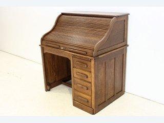 nd-17 1880年代 イギリス製 アンティーク ヴィクトリアン オーク 蛇腹 ロールトップデスク