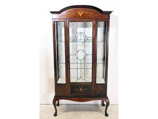 ce-63 1890年代 イギリス製 アンティーク ビクトリアン マホガニー 木嵌細工 ステンドグラス キャビネット