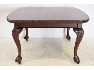 dt-18 1890年代 イギリス 製 アンティーク マホガニー チッペンデールスタイル スクエア エクステンション ダイニングテーブル