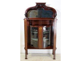 ce-91 1920年代 イギリス製 アンティーク アールヌーボー ウォルナット ステンドグラス キャビネット