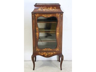 ce-11 1890年代 イギリス製 アンティーク ヴィクトリアン ローズウッド ルイ15世スタイル インレイド ミュージックキャビネット