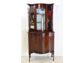 ce-15 1900年代 イギリス製 アンティーク マホガニー エドワーディアン インレイド ミラーバック ディスプレイ キャビネット