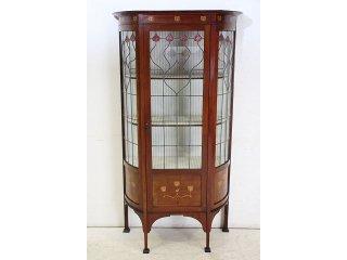 ce-20 1910年代 イギリス製 アンティーク マホガニー アーツ アンド クラフツ インレイド ガラスキャビネット