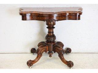 cl-3 1880年代 イギリス製 アンティーク ビクトリアン ウォルナット カードテーブル ゲームテーブル