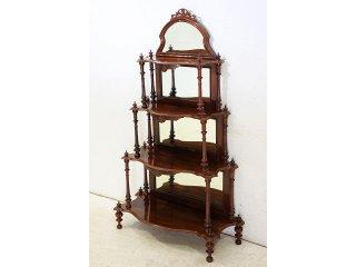 an-5 1880年代 イギリス製 アンティーク ビクトリアン ウォルナット ミラーバック ワットノッツ 棚