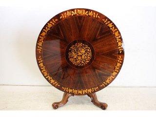 dt-22 1880年代イギリス製アンティーク ビクトリアン ローズウッド チップトップアップ ラウンド インレイド ダイニングテーブル