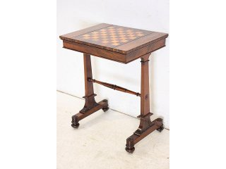 an-24 1880年代 イギリス製 アンティーク ビクトリアン ローズウッド バックギャモン チェス ゲームテーブル