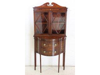 bk-14 1900年代 イギリス製 アンティーク エドワーディアン ローズウッド マホガニー インレイド スモール ブックケース 本棚 書棚