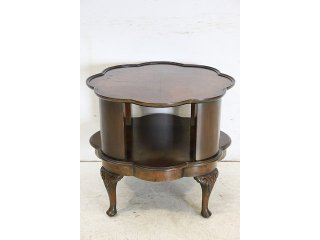 ct-6 1940年代イギリス製アンティーク ウォルナット 回転式 リボルビング コーヒーテーブル マガジンラックテーブル