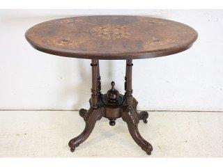 cd-15 1890年代イギリス製アンティーク ビクトリアン ウォルナット インレイド ティーテーブル
