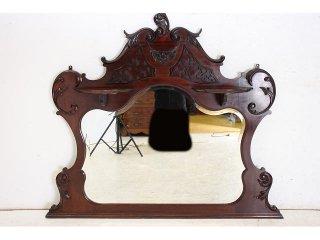 mr-14 1890年代 イギリス製 アンティーク ビクトリアン マホガニー 壁掛け鏡 ウォールミラー