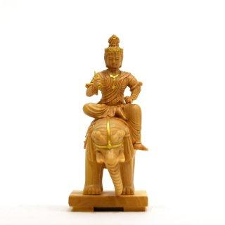 本格小仏 【帝釈天騎象像】 柘植金泥付 高さ10.2cm