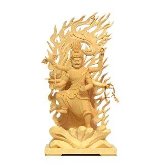 烏枢沙摩明王(うすさまみょうおう) 桧木(ヒノキ) 立4.0寸 総高23.5cm