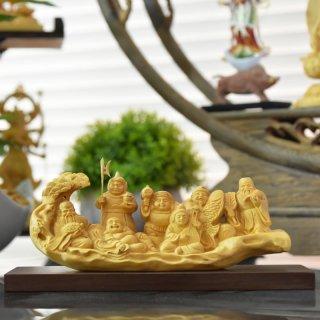 柘植一本彫り【七福神】 幅14.5cm