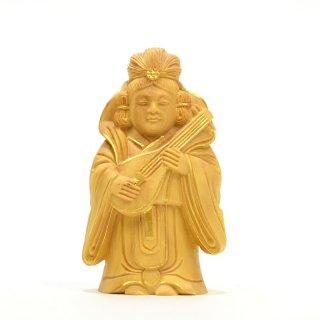 【小仏】柘植七福神之弁財天 金泥付 高さ8cm
