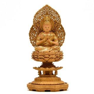 宗派仏像 【大日如来】 二重火炎光背八角台 肖楠木 眼入切金 坐2.5寸 総高25.5cm 真言宗