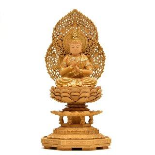 宗派仏像 【大日如来】 二重火炎光背八角台 肖楠木 眼入切金 坐3.0寸 総高30.5cm 真言宗