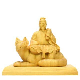 稲荷神 桧木寄木 本体高さ13.5cm 「宇迦之御魂神(うかのみたまかみ)」