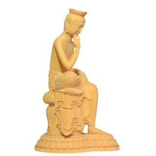 【上彫】桧木広隆寺形弥勒菩薩半跏思惟像 総高30cm