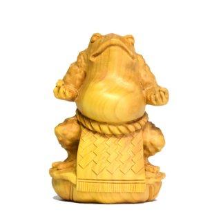 柘植縁起置物 相撲蛙ー横綱ー仕切の型 総高8cm