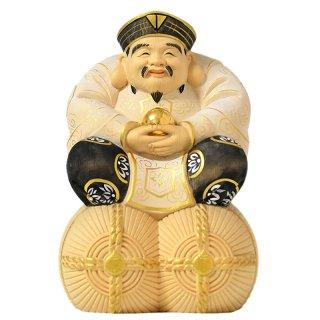 桧木宝珠大黒天(大国主神)坐2.5寸 淡彩金泥仕様