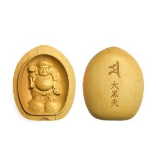 木彫り香合仏/懐中仏 【大黒天】 柘植(つげ)縦5.7cm