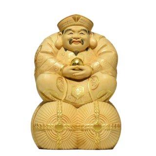 桧木宝珠大黒天(大国主神)坐2.5寸 金泥仕様