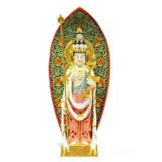 【小仏】柘植長谷寺形十一面観音菩薩 極彩色 総高12cm
