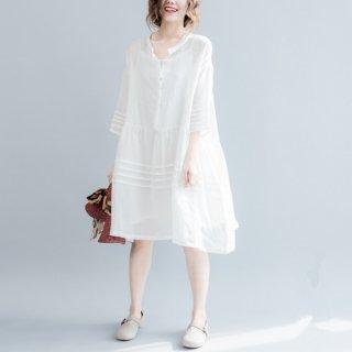 シャツワンピース 体型カバー 綿麻 七分袖 ワンピース 白 マキシ丈 レディース 夏 ワンピース