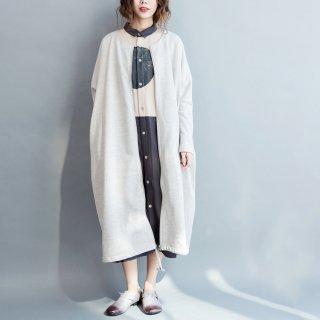 ロングコート 大きいサイズ ジップアップ くるぶし丈 ゆったり 綿100% レディース コート