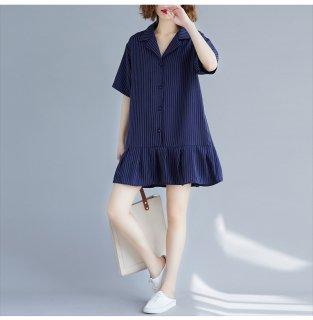 ミニ丈 ワンピース シャツ ワンピース 襟付き 大きいサイズ フリル スカート ストライプ柄 レディース 夏 ワンピース