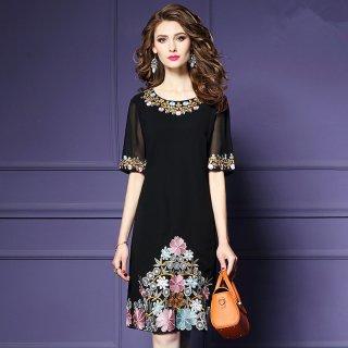 ワンピース 半袖 花刺繍 ひざ丈 サックドレス