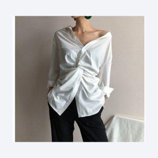 コットンシャツ シャツ Vネック 長袖 トップスおしゃれ