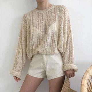 クルーネック ニット セーター ツイスト 透け感