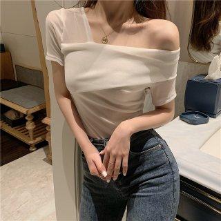 Tシャツ オフショルダー 肩出し オープンショルダー 半袖 透け感