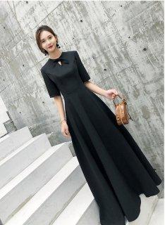ビジネスワンピース オフィス 半袖 ロングワンピース 黒 パーティー ドレス レディース ワンピース ドレス