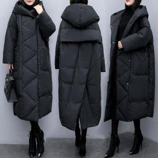 オーバーサイズ ミドル丈コート ひざ下 膝下丈コート 大きいサイズ 防寒 暖かい 定番 綿 ウインドブレーカー コート ジャケット 秋冬 レディース