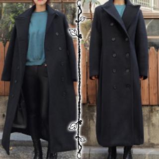 ウールコート レトロ ダブルブレスト ロングコート 大きな襟 膝下丈コート スーツ襟 大き目ボタン 暖かい コート 防寒 ジャケット 冬 レディース