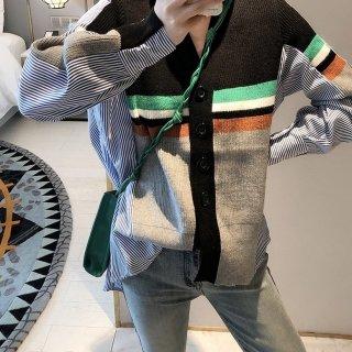 ニットシャツカーディガン シャツドッキング Vネック 羽織り 異素材 おしゃれ ゆったり ストライプ 大人可愛い ガーリー トレンド 切替 オフィス トップス 春 オールシーズン レディース