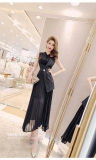 ノースリーブ ロングスリーブ ドレス アシンメトリー プリーツワンピース 大きいサイズ 40代 50代 きれいめ