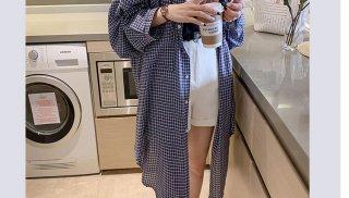 チェックシャツ ロングカーディガン  フード オーバーサイズ 長袖 日焼け防止 大きいサイズ 40代 50代 きれいめ