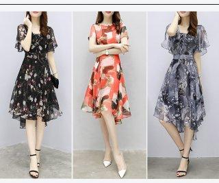 シースルー 花柄ドレス ミモレ丈 半袖 フェミニン アシンメトリー きれいめ 御呼ばれ