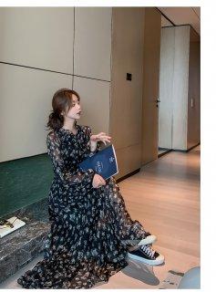 花柄 ワンピース マキシ丈スカート シフォン 変形ヘム 透け感 エレガント 40代 50代 きれいめ