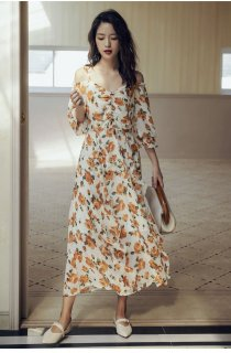 花柄 ワンピース ロングスカート バラ オフショルダー 長袖 フリル Aライン 40代 50代 きれいめ