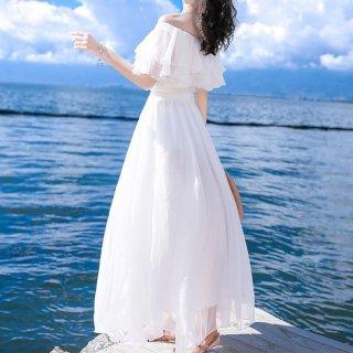 ホワイトドレス シフォン オフショルドレス レディース マキシ フレア フリル袖 オフショルダー 夏 きれいめ 大人
