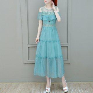 オフショルティアードワンピース レース 刺繍 ドレス レディース 夏 きれいめ 大人 透け感 ロング オフショルダー