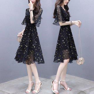 シースルーワンピース 黒 膝丈 星柄 かわいい きれいめ ドレス オケージョン フェミニン フレアスカート