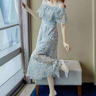 シアー プリーツ 花柄ドレス オフショルワンピ レディース カシュクール風ワンピース オフショルダー 夏 きれいめ