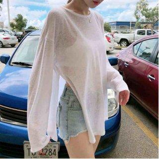 シースルーニット 夏 トップス ゆったり 白tシャツ ワイルド ルーズフィット ホワイト ビーチ スリット プライベート